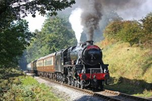 Train on the tracks with steam - from the North York Moors Railway