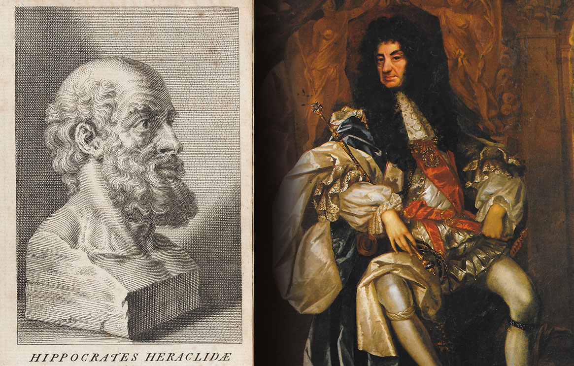 A sketch of the head of HIppocrates and a painting of Charles II from the National Portrait Gallery