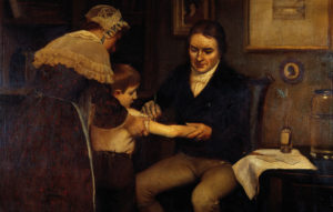 painting of doctor giving an injection to a child