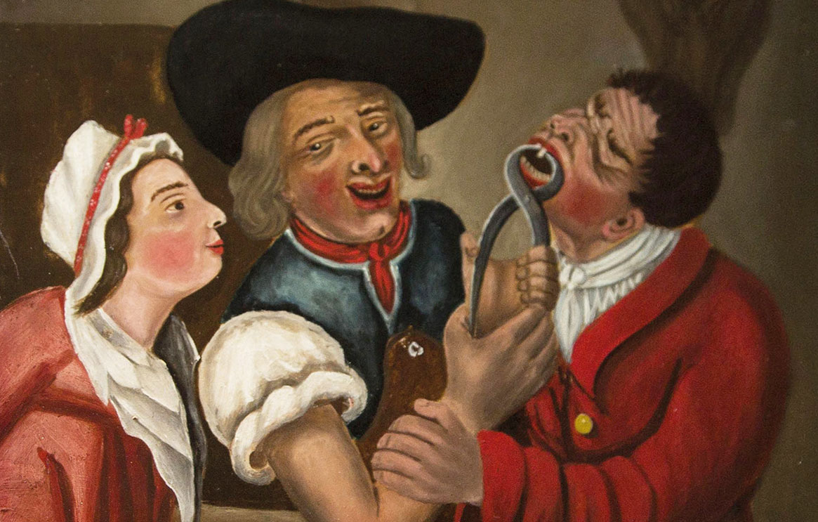 A painting of a man extracting another man's tooth