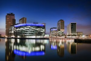MediCityUK at Salford Quays, viewed across the Manchester Ship Canal at night