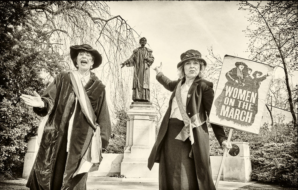 Mary Carroll on one of her suffragette tours