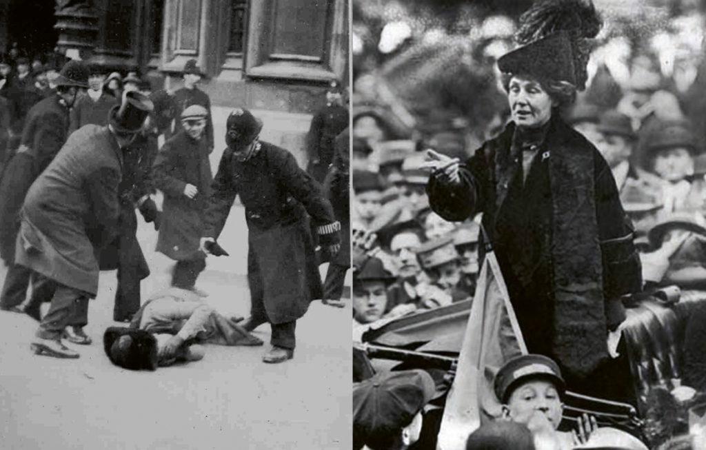 Black Friday Ada Wright and Emmeline Pankhurst addresses the crowd