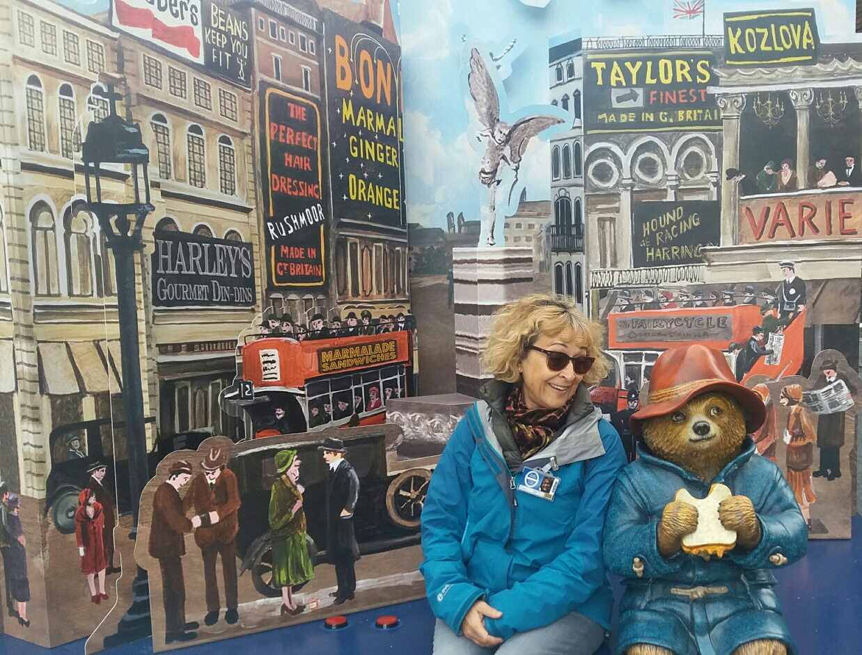 Blue Badge Guide Eve Milner with Paddington Bear.