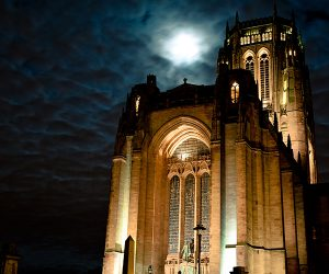 The Anglican Cathedral in Liverpool by night