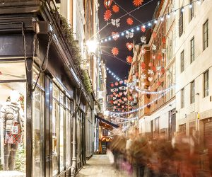 Carnaby Street lit up at night