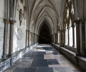 Stone corridor inside Ely Cathedral