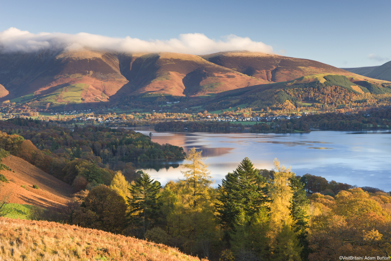 View from theCat Bells over the lake of Derwentwater to Keswick and Skiddaw. (c) Visit Britain