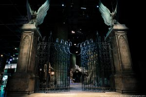 Gates to the Forbidden Forest in Harry Potter at the Warner Bros. Studio Tour London, Watford, England