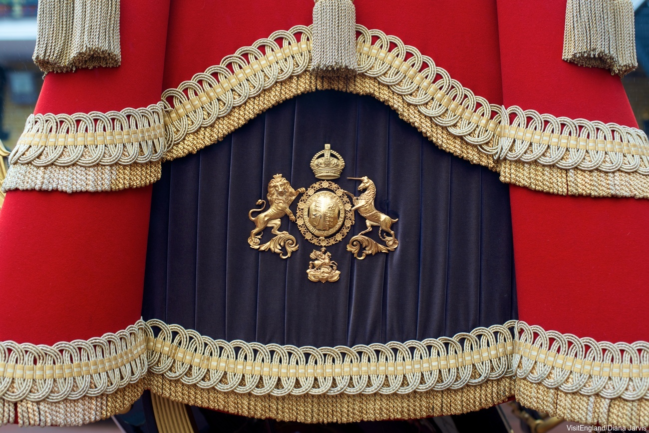 Detail of carriage at the State Opening of Parliament 2013: procession from Buckingham Palace