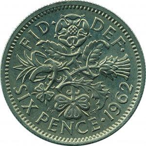 British sixpence 1962