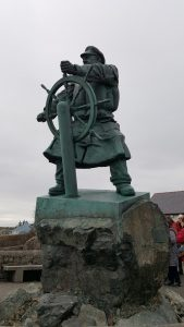 Dic Evans statue in the tiny village of Moelfre, North Wales