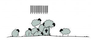 Sheep beneath a bar code sign