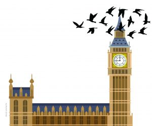 Drawn picture of Big ben with birds flying round it
