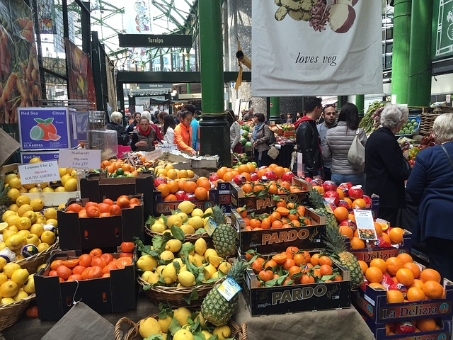 Fruit stall at Borough Market, London