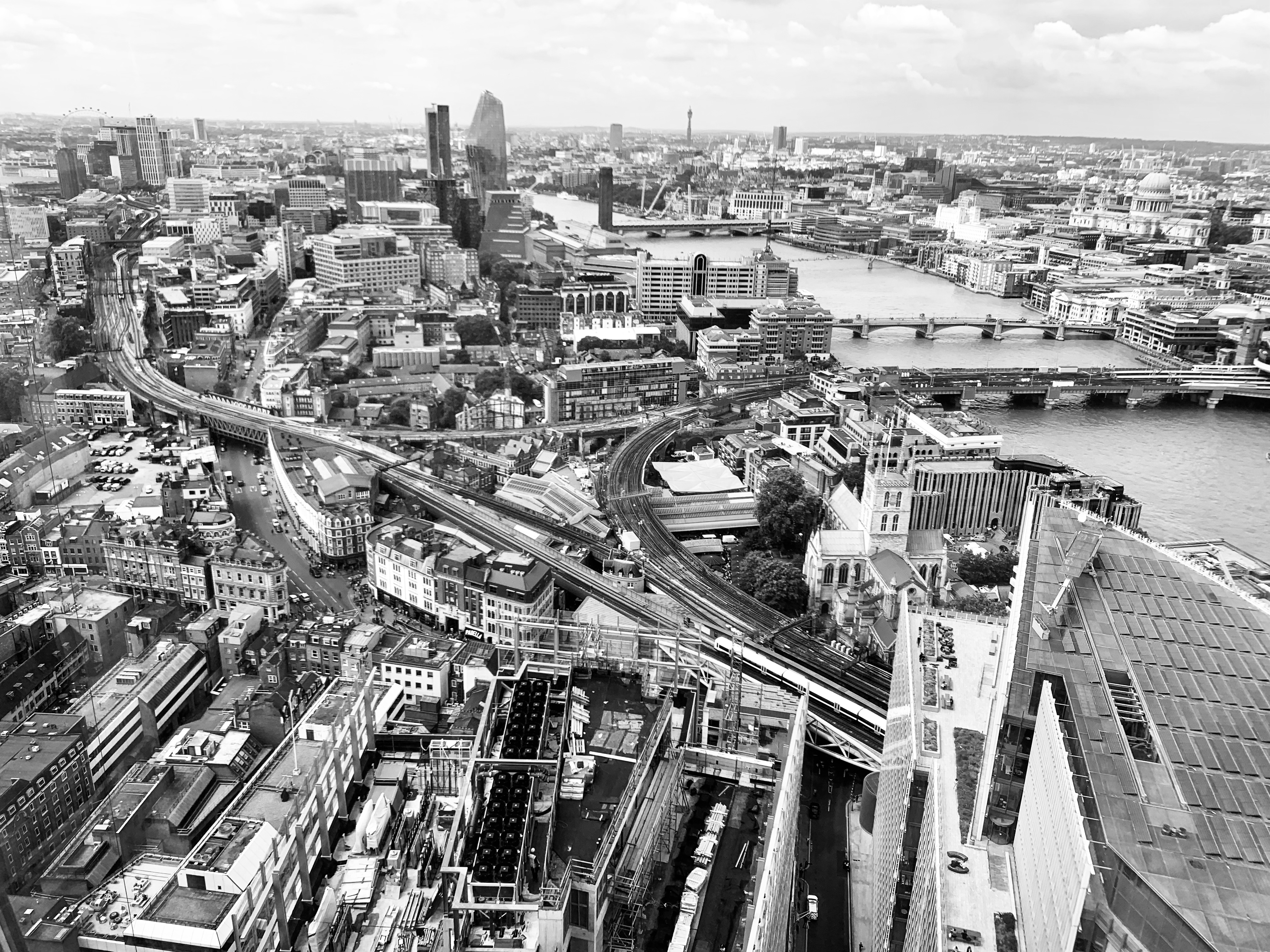 Ariel view of Bankside from the Shard, London