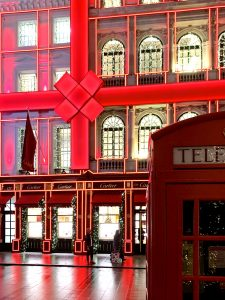 London Cartier store decorated for Christmas with a huge red ribbon