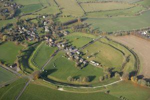 Arial view of Avebury henge and stone circles