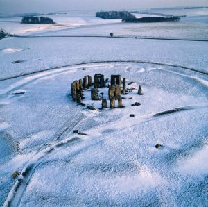 Stonehenge - aerial view in snow