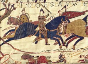 Close up of the Bayeux tapestry, Reading Museum