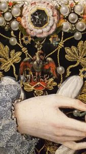 Close up of a royal Tudor gown
