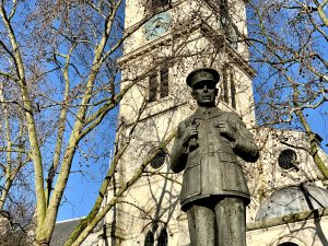 The statue of Air Chief Marshall Dowding outside St Clement Danes Church