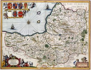 An old map of Somerset in 1646
