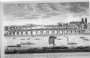 Canaletto's picture of the original Westminster Bridge of 1750