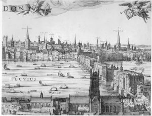 17th Century engraving of Old London Bridge with its houses