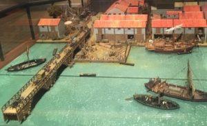 Model of the wooden Roman London Bridge