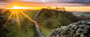 Hadrian's Wall at sunset