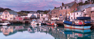 Fishing boats at a harbour town in Cornwall