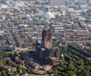 aerial view of liverpool cathedral giles gilbert scott