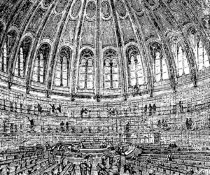 Pencil sketch of the old reading room in the British Museum