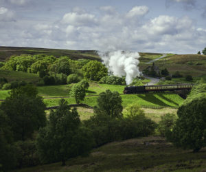 Goathland railway or Hogwarts Express on route across Yorkshire
