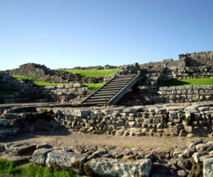 A close up of a section of Hadrian's Wall