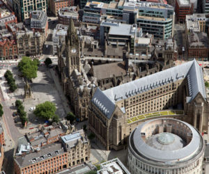 Aerial view of Manchester Town Hall